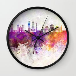 Lahore skyline in watercolor background Wall Clock