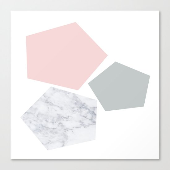 Blush, gray & marble geo Canvas Print