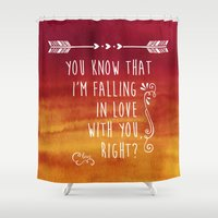 levi Shower Curtains featuring Fangirl by solMKC