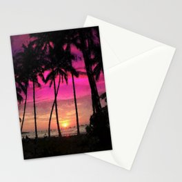 Secret Beach, Pink and Purple Sunset, Hawaii landscape painting Stationery Cards