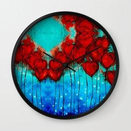 Hearts On Fire Patterns - Romantic Art By Sharon Cummings Wall Clock
