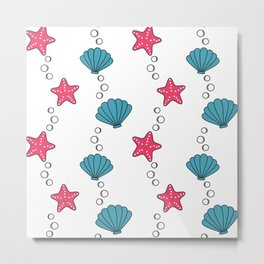 cute summer pattern with starfishes and seashells Metal Print