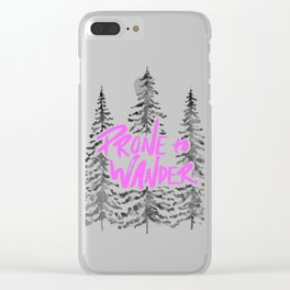 Prone to Wander - Hot Pink Clear iPhone Case