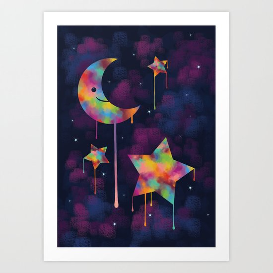 Colorful Moon And Stars Art Print By Kteacrumpet Society6