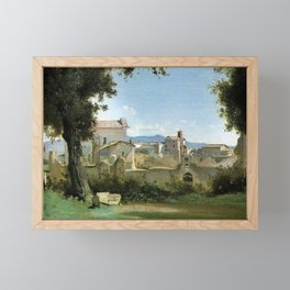 View from the Farnese Rome gardens of Jean-Baptiste Camille Corot Framed Mini Art Print