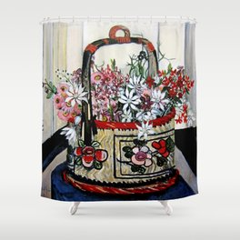 """Basket of Flannel Flowers"" by Margaret Preston Shower Curtain"