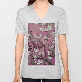 Vincent van Gogh Blossoming Almond Tree (Almond Blossoms) Fuchsia Sky Unisex V-Neck