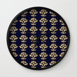 Golden Damask Classic Pattern Wall Clock