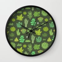 succulents Wall Clocks featuring Succulents by Anna Alekseeva kostolom3000
