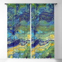 Blue Green Oasis Blackout Curtain