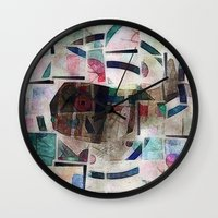 kandinsky Wall Clocks featuring whale in reassembled Kandinsky by Osome Beamer