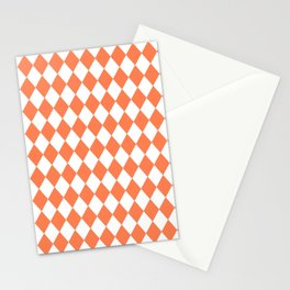 Diamonds (Coral/White) Stationery Cards