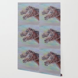Horse Racing, Portrait of two brown horses, Pastel drawing on gray background Wallpaper