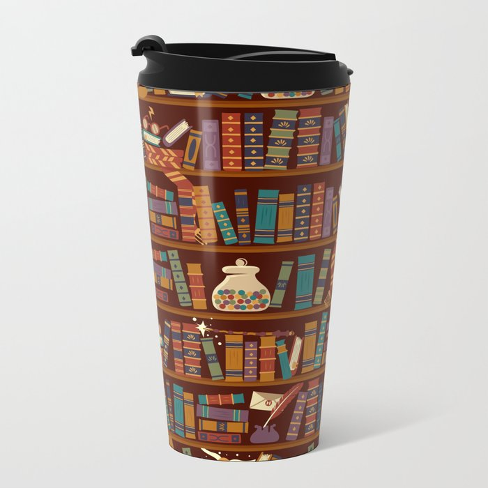 Bookshelf Metal Travel Mug
