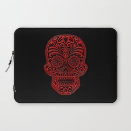 Intricate Red and Black Day of the Dead Sugar Skull Laptop Sleeve