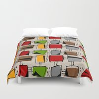mid century Duvet Covers featuring Mid-Century Abstract #77 by Kippygirl