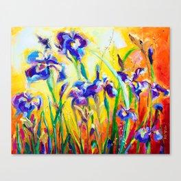Alpha and Omega Impressionist Blue Irises Canvas Print