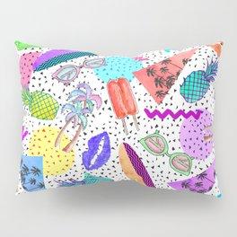 Retro 80's 90's Summer Beach Collage Pattern Pillow Sham