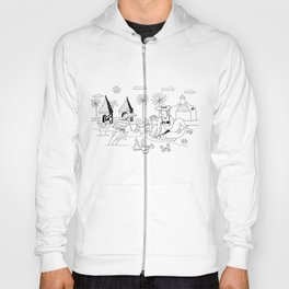 Funny Figurative Line Drawing of Alys Beach Community on 30a Hoody