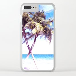 Palm Tree Beach Clear iPhone Case