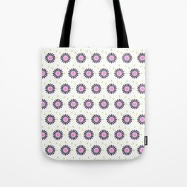 Hand painted black pink lime green floral daisies Tote Bag