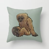 bigfoot Throw Pillows featuring Bigfoot by Savannah Horrocks