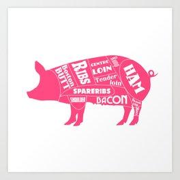 Pork Butcher's Diagram Art Print