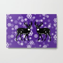 White Snowflakes with tow Reindeer - violet Christmas Design Metal Print