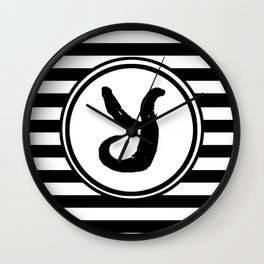 Y Striped Monogram Letter Wall Clock