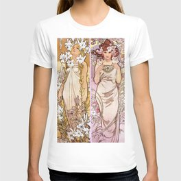 "Alfons Mucha, "" four flowers "" T-shirt"