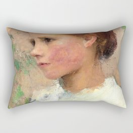 George Clausen - A Village Girl - Digital Remastered Edition Rectangular Pillow