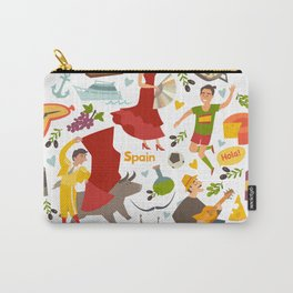 Spain, touristic symbols vector. Colorfull hand drawn illustration Carry-All Pouch