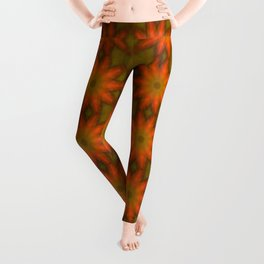 Autumnal Leaves Red and Green Repeating Pattern Leggings