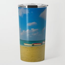 Colorful Boats Adorn the Tranquil Beach Travel Mug