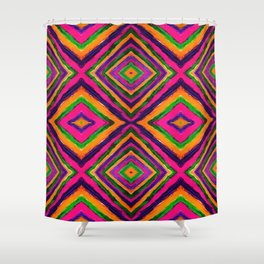 Rainbow Painted God's Eye - Pink Shower Curtain