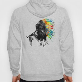 Indian Silhouette With Colorful Headdress Hoody