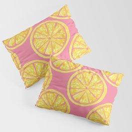 Lemon Slices |Yellow Watercolor Citrus Fruit on Pink | Renee Davis Pillow Sham