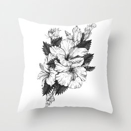 The Chinese Rose & The Tree Frog Throw Pillow