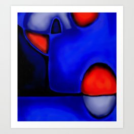 Abstraction in Lapis and Red Art Print