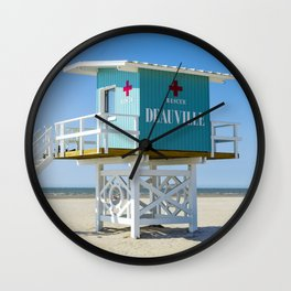Lifeguardhouse at the Beach in Deauville France Wall Clock