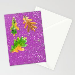 Oak leaves on purple terrazzo background Stationery Cards