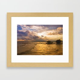 Weather over the lake Framed Art Print