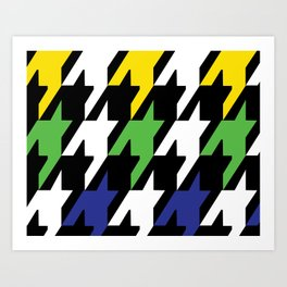 Jumbo Scale Masculine Colored Houndstooth Pattern Art Print