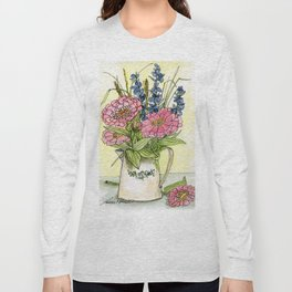 Pink Zinnias in Pitcher Watercolor Long Sleeve T-shirt