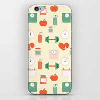 fitness iPhone & iPod Skins featuring Fitness pattern by Xinnie and RAE