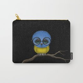 Baby Owl with Glasses and Ukrainian Flag Carry-All Pouch