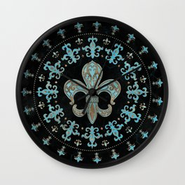 Vintage Fleur-de-lis Teal and Gold  Wall Clock
