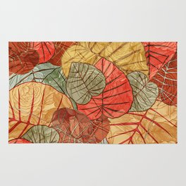 Leaves in Rosy Background 4 Rug
