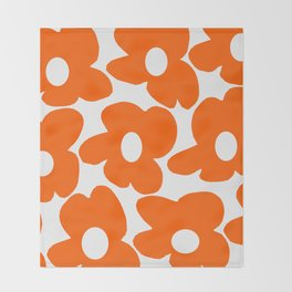 Orange Retro Flowers White Background #decor #society6 #buyart Throw Blanket