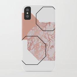 Geometric - Hexagon, Marble Rose Gold iPhone Case